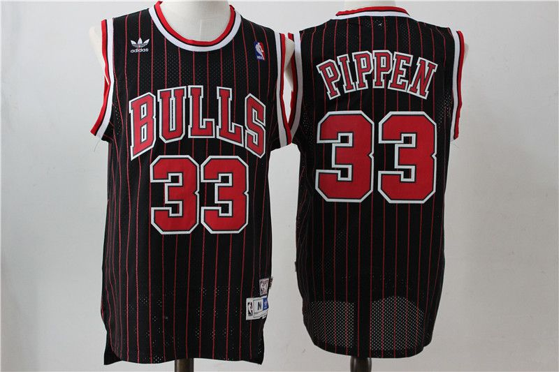 Men Chicago Bulls 33 Pippen Black red stripw Throwback NBA Jerseys