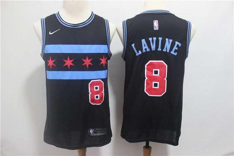 Men Chicago Bulls 8 Lavine Black City Edition Game Nike NBA Jerseys