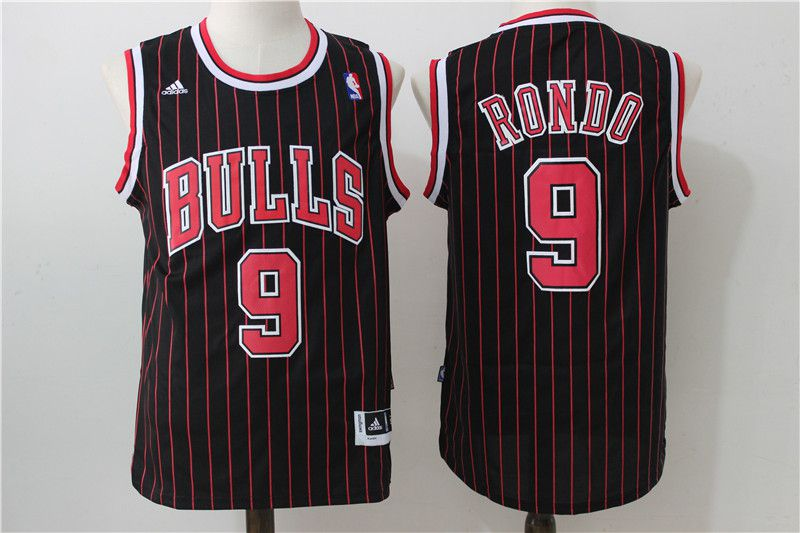 Men Chicago Bulls 9 Rondo Black red stripe Adidas NBA Jersey