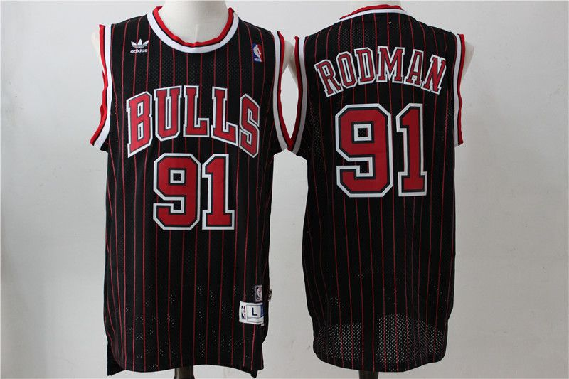 Men Chicago Bulls 91 Rodman red stripe Throwback NBA Jerseys