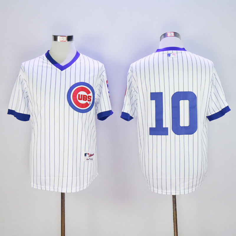 Men Chicago Cubs 10 Santo White Throwback MLB Jerseys
