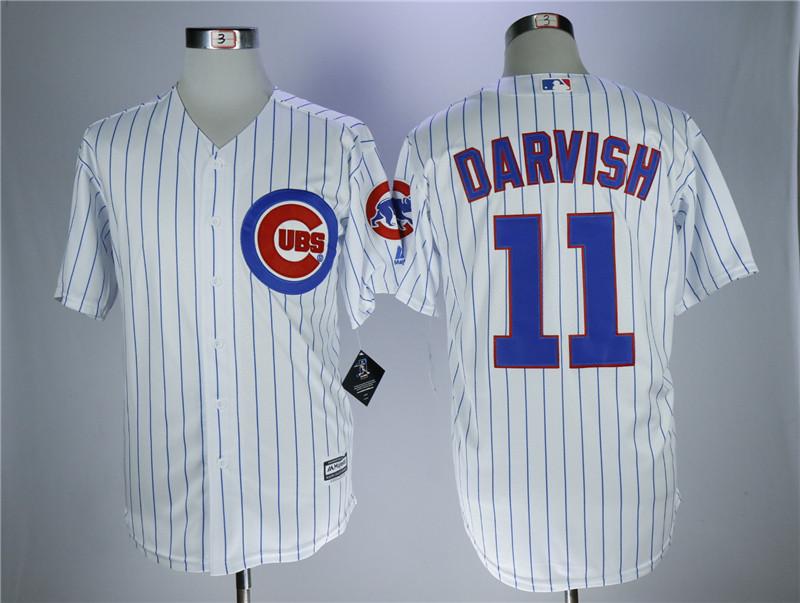 Men Chicago Cubs 11 Darvish White MLB Jerseys