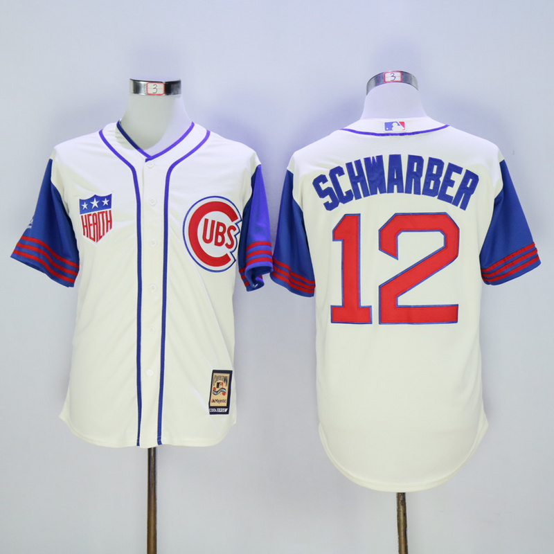 Men Chicago Cubs 12 Schwarber Cream Throwback 1942 MLB Jerseys