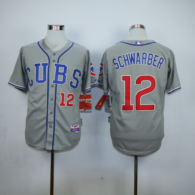 Men Chicago Cubs 12 Schwarber Grey CUBS MLB Jerseys