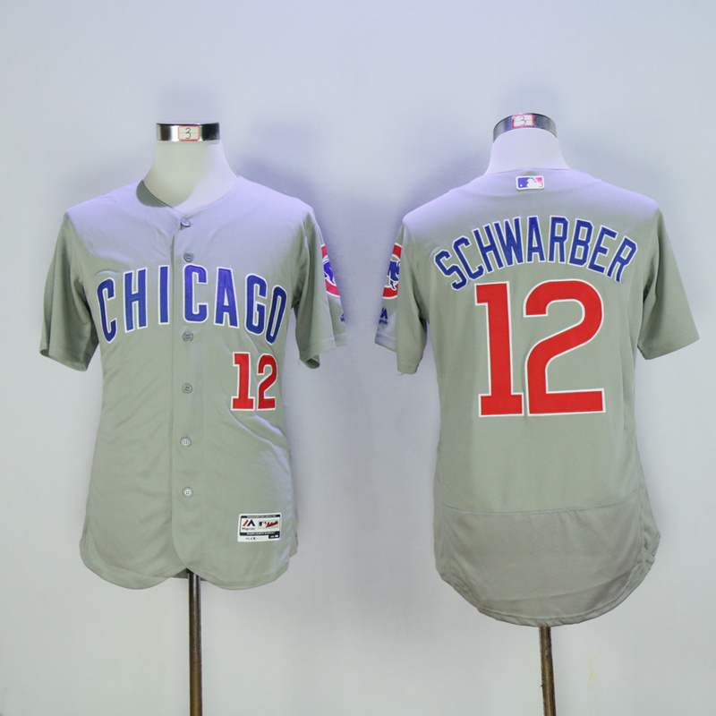 Men Chicago Cubs 12 Schwarber Grey MLB Jerseys