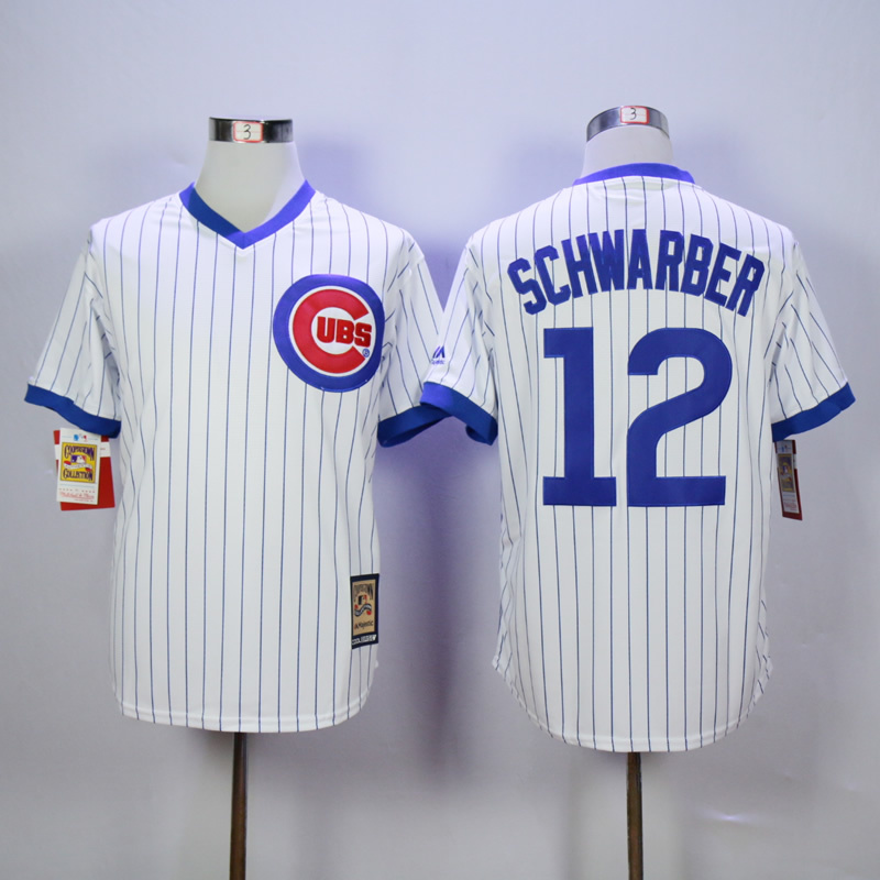 Men Chicago Cubs 12 Schwarber White MLB Jerseys