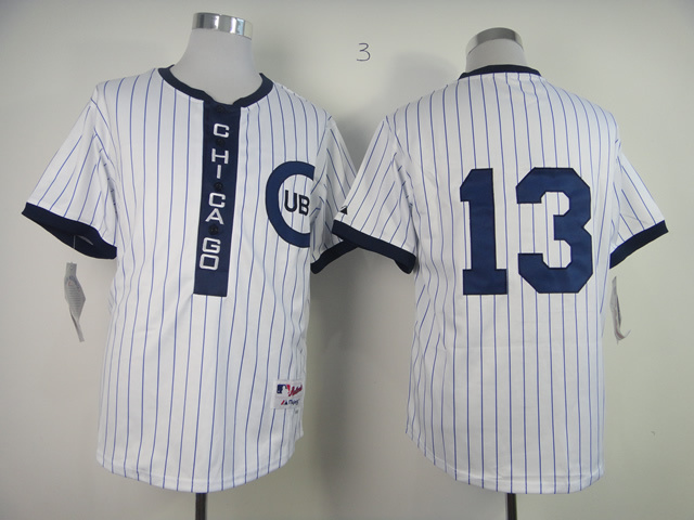 Men Chicago Cubs 13 Castro White Throwback 1909 MLB Jerseys
