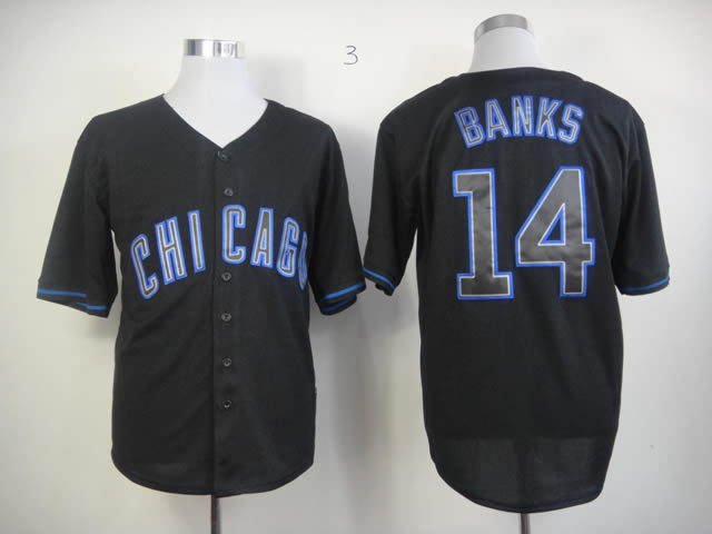 Men Chicago Cubs 14 Banks Black MLB Jerseys