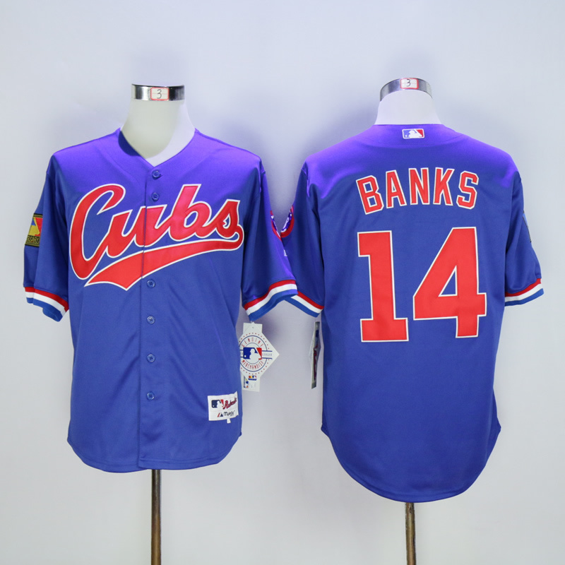 Men Chicago Cubs 14 Banks Blue Throwback 1994 MLB Jerseys