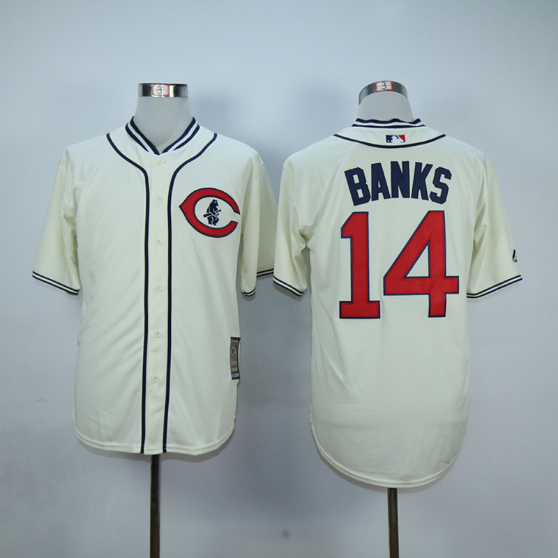 Men Chicago Cubs 14 Banks Cream Throwback 1929 MLB Jerseys