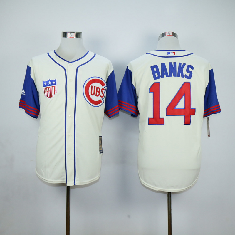 Men Chicago Cubs 14 Banks Cream Throwback 1942 MLB Jerseys
