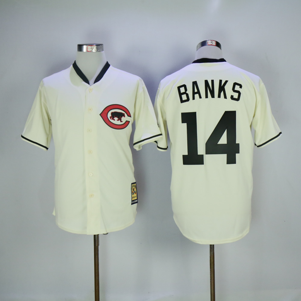 Men Chicago Cubs 14 Banks Cream Throwback MLB Jerseys