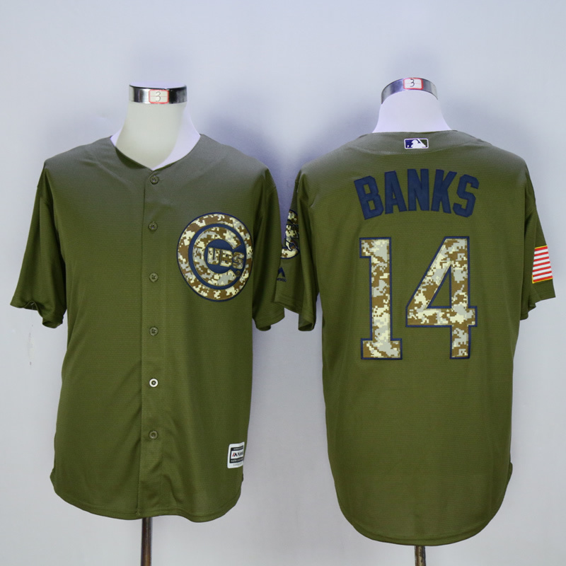 Men Chicago Cubs 14 Banks Green MLB Jerseys