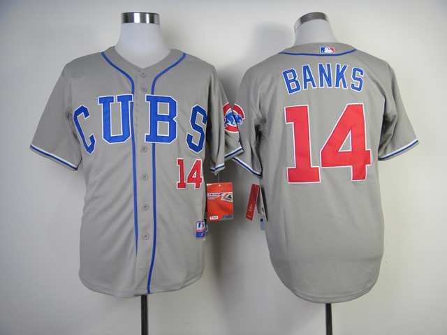 Men Chicago Cubs 14 Banks Grey CUBS MLB Jerseys