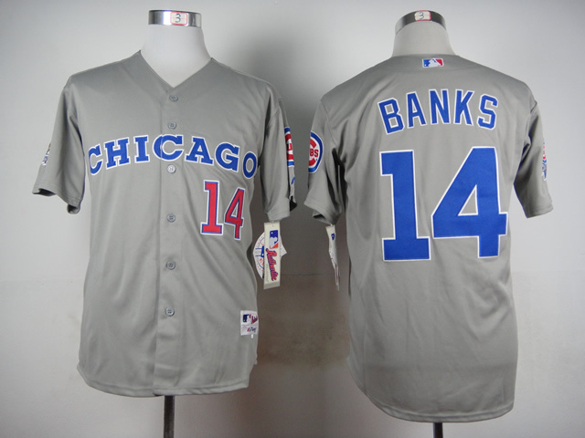 Men Chicago Cubs 14 Banks Grey Throwback 1990 MLB Jerseys