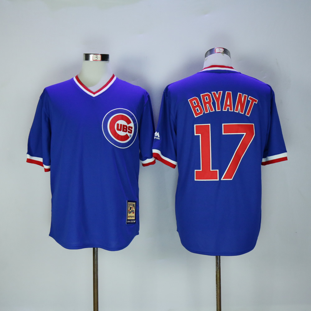 Men Chicago Cubs 17 Bryant Blue Throwback Game MLB Jerseys