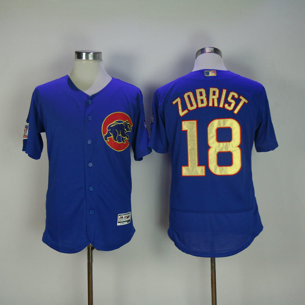 Men Chicago Cubs 18 Zobrist Blue Champion MLB Jerseys
