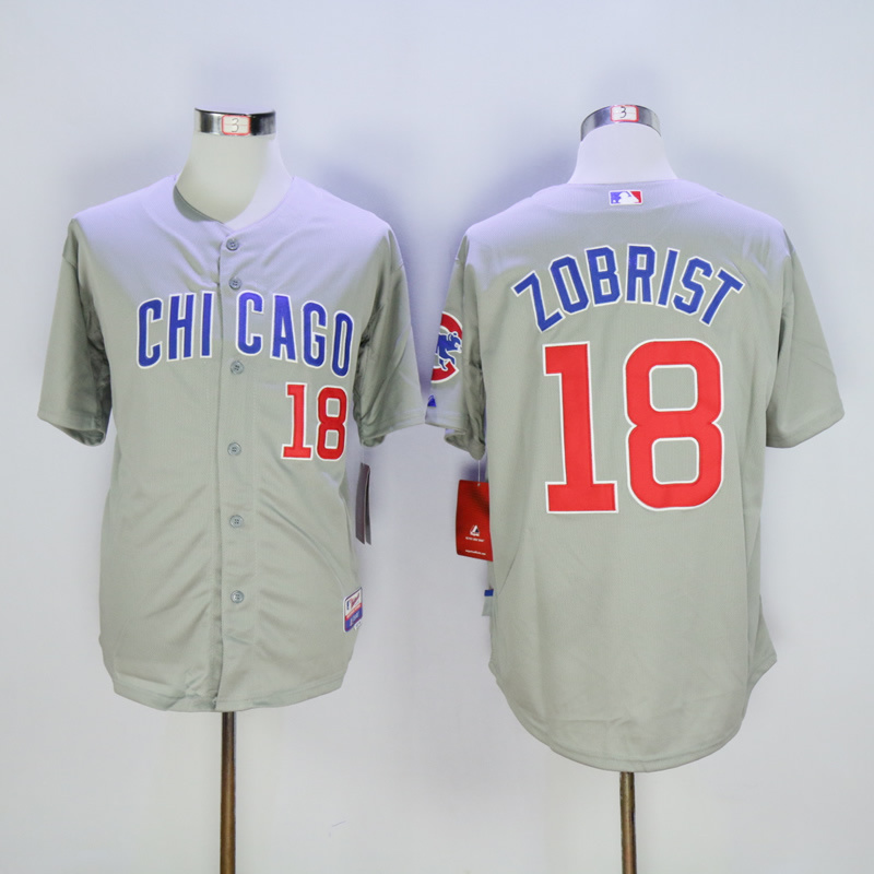 Men Chicago Cubs 18 Zobrist Grey MLB Jerseys