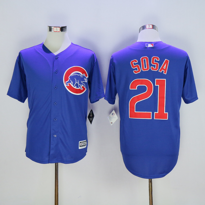 Men Chicago Cubs 21 Sosa Blue MLB Jerseys