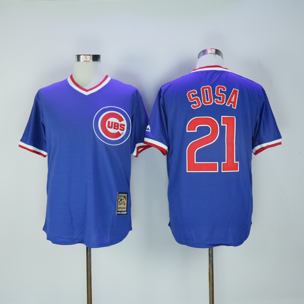 Men Chicago Cubs 21 Sosa Blue Throwback MLB Jerseys