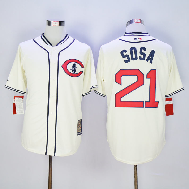 Men Chicago Cubs 21 Sosa Cream Throwback 1929 MLB Jerseys