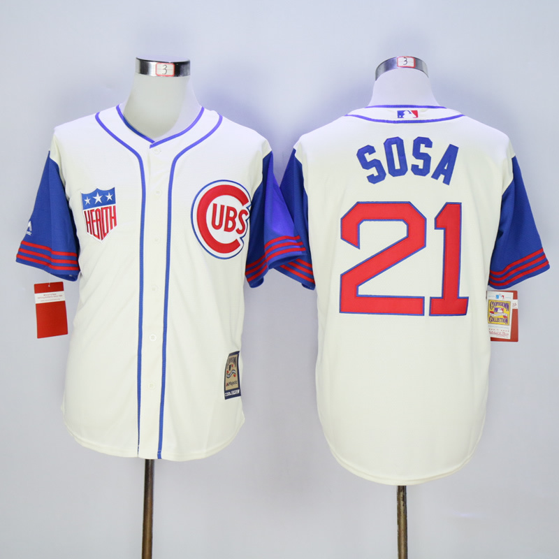 Men Chicago Cubs 21 Sosa Cream Throwback 1969 MLB Jerseys