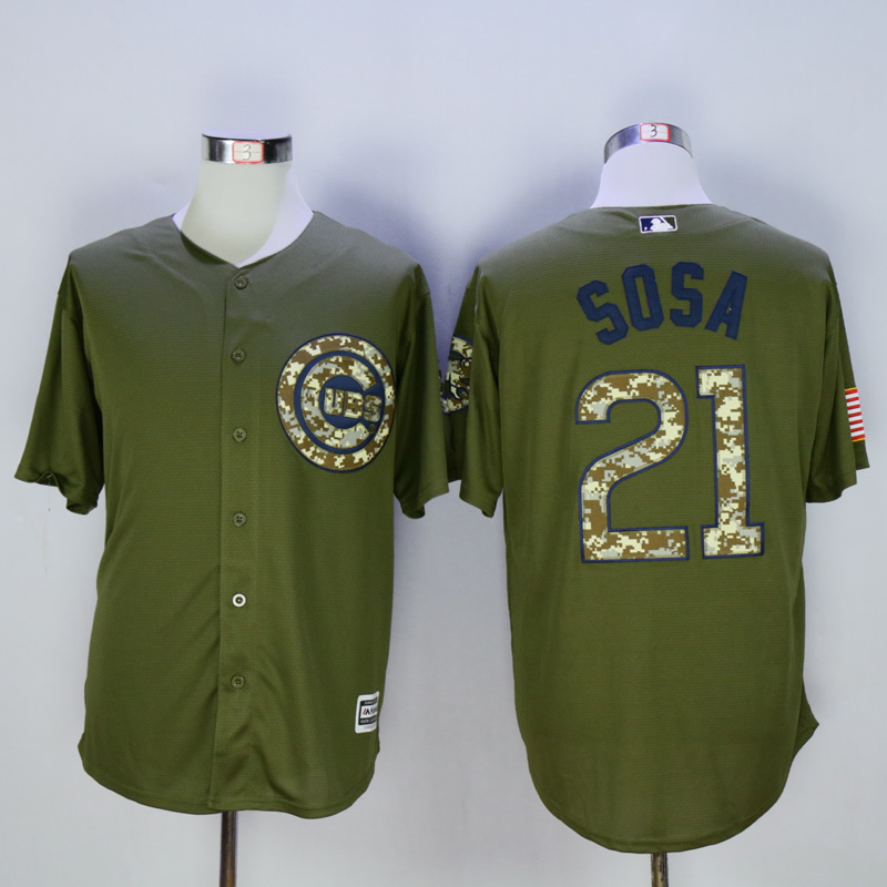 Men Chicago Cubs 21 Sosa Green MLB Jerseys
