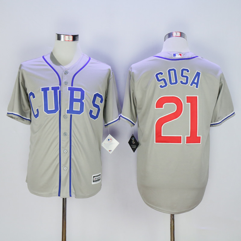 Men Chicago Cubs 21 Sosa Grey CUBS MLB Jerseys