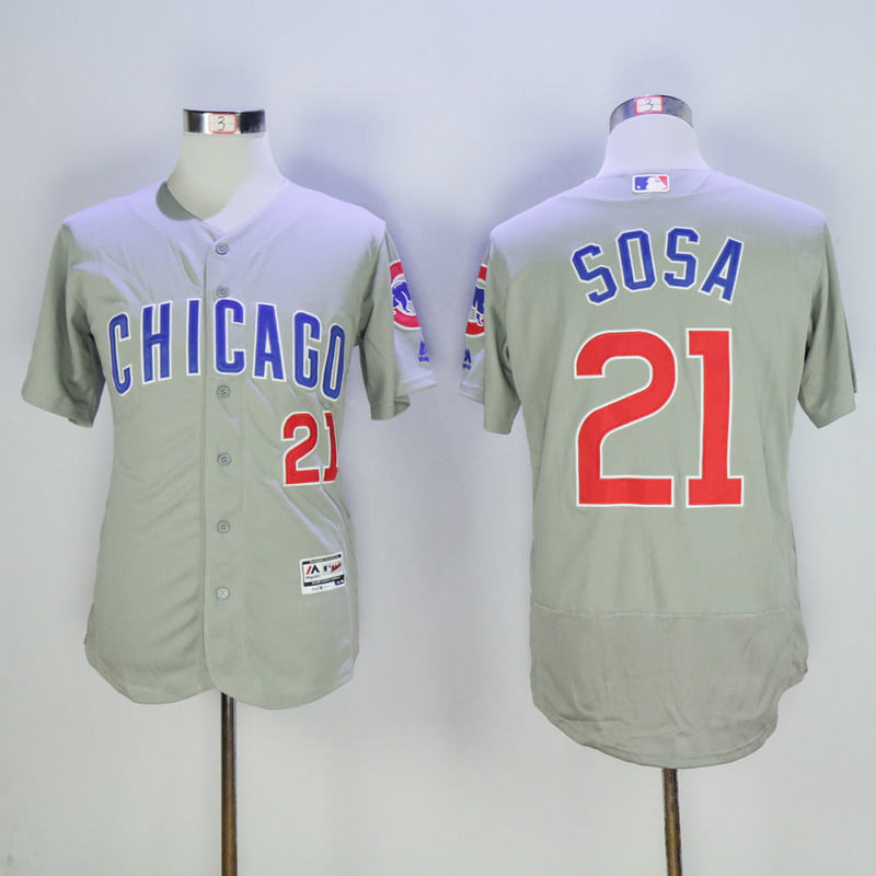 Men Chicago Cubs 21 Sosa Grey MLB Jerseys