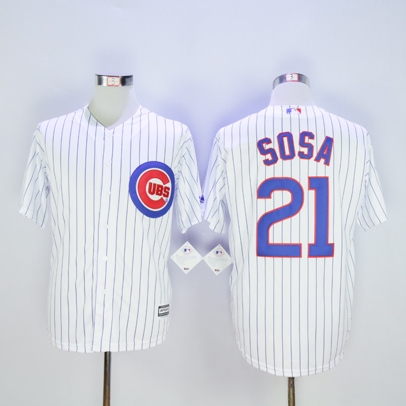 Men Chicago Cubs 21 Sosa White Game MLB Jerseys