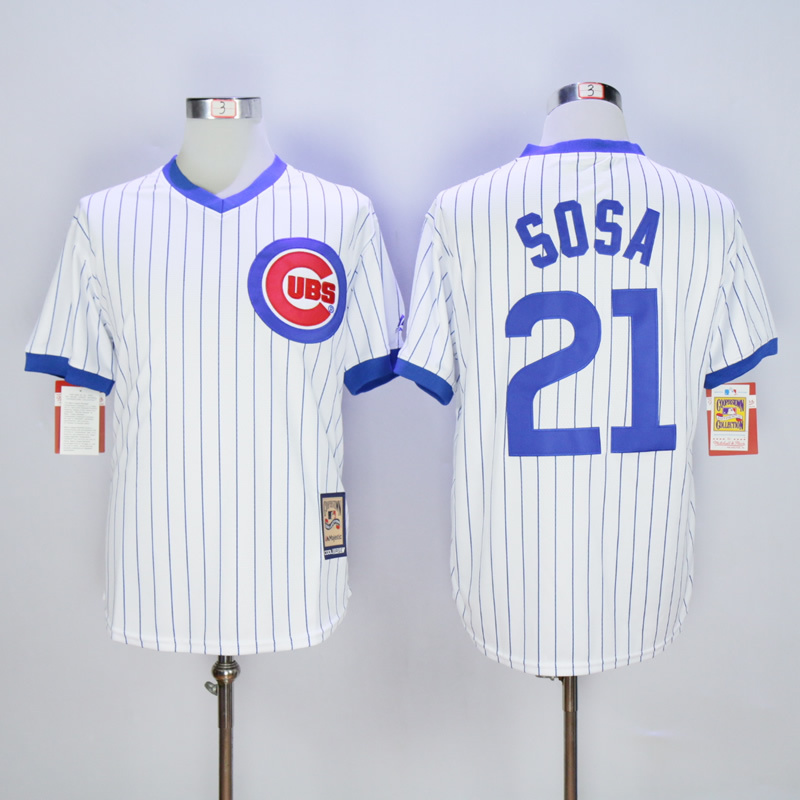 Men Chicago Cubs 21 Sosa White Throwback MLB Jerseys