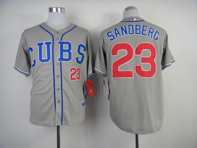 Men Chicago Cubs 23 Sandberg Grey CUBS MLB Jerseys
