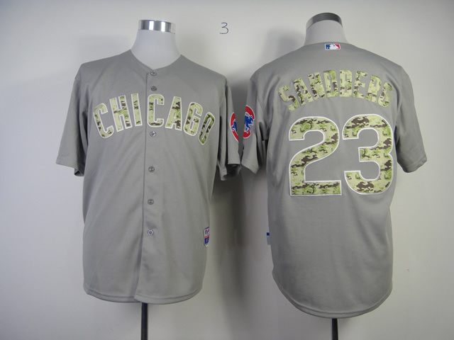 Men Chicago Cubs 23 Sandberg Grey Camo MLB Jerseys