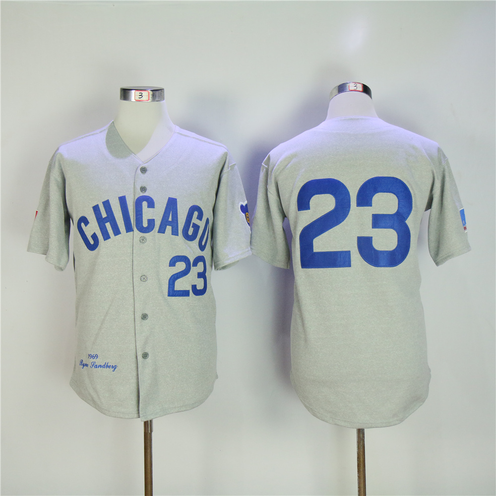 Men Chicago Cubs 23 Sandberg Grey Throwback 1969 MLB Jerseys