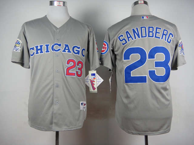 Men Chicago Cubs 23 Sandberg Grey Throwback 1990 MLB Jerseys