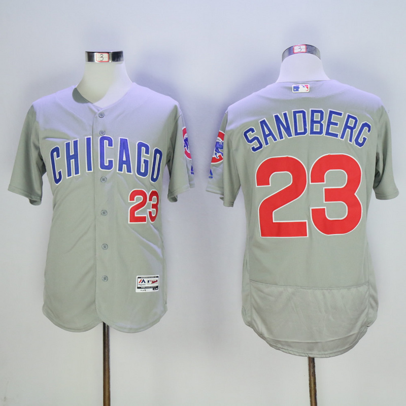 Men Chicago Cubs 23 Sandberg Grey Throwback MLB Jerseys