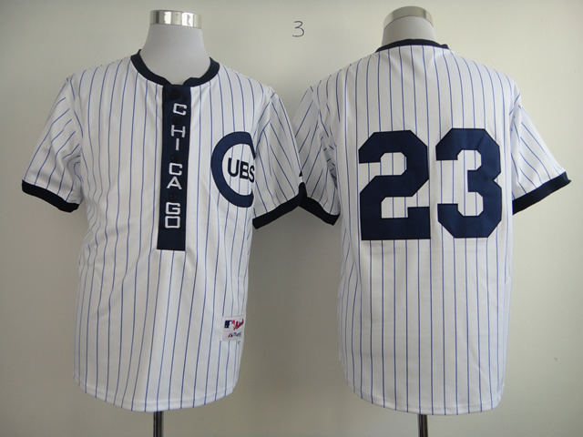 Men Chicago Cubs 23 Sandberg White Throwback 1909 MLB Jerseys