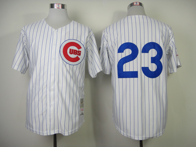 Men Chicago Cubs 23 Sandberg White Throwback 1984 MLB Jerseys