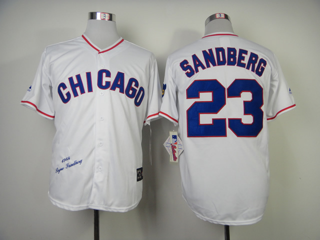 Men Chicago Cubs 23 Sandberg White Throwback 1988 MLB Jerseys