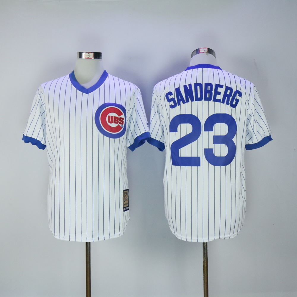 Men Chicago Cubs 23 Sandberg White Throwback Game MLB Jerseys