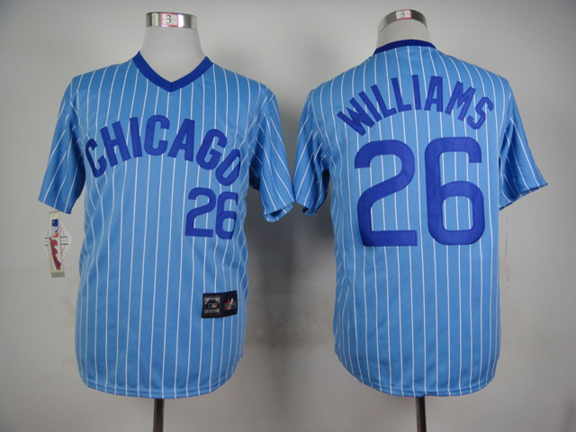 Men Chicago Cubs 26 Williams Blue Throwback MLB Jerseys