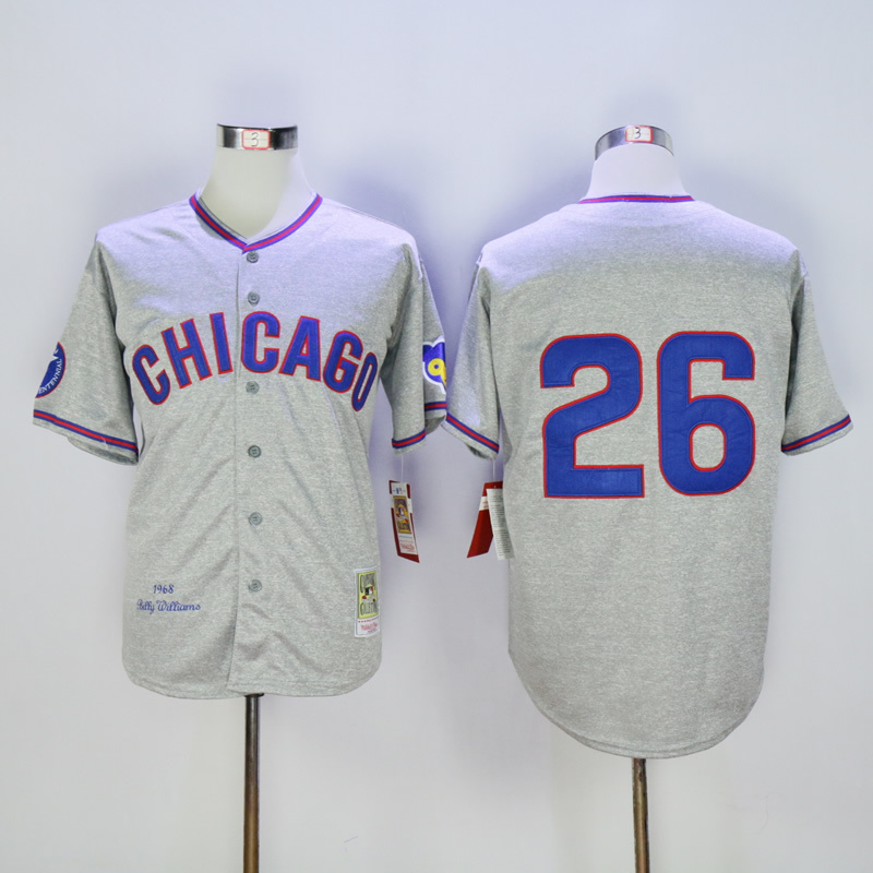 Men Chicago Cubs 26 Williams Grey Throwback 1968 MLB Jerseys