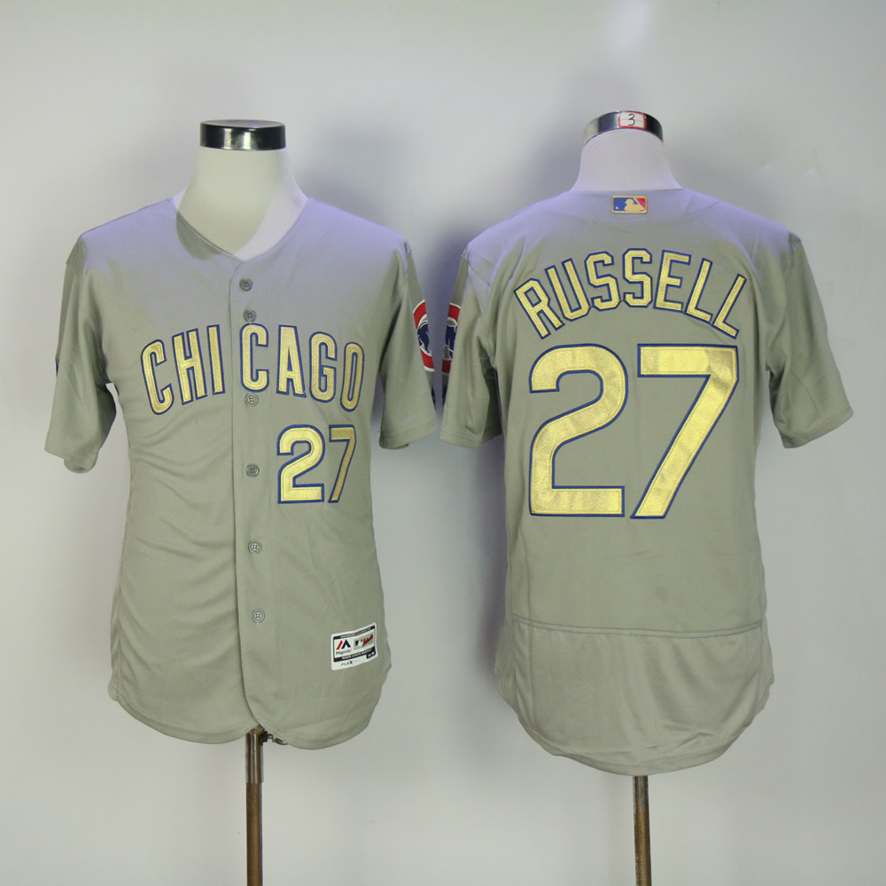 Men Chicago Cubs 27 Russell Grey Champion MLB Jerseys