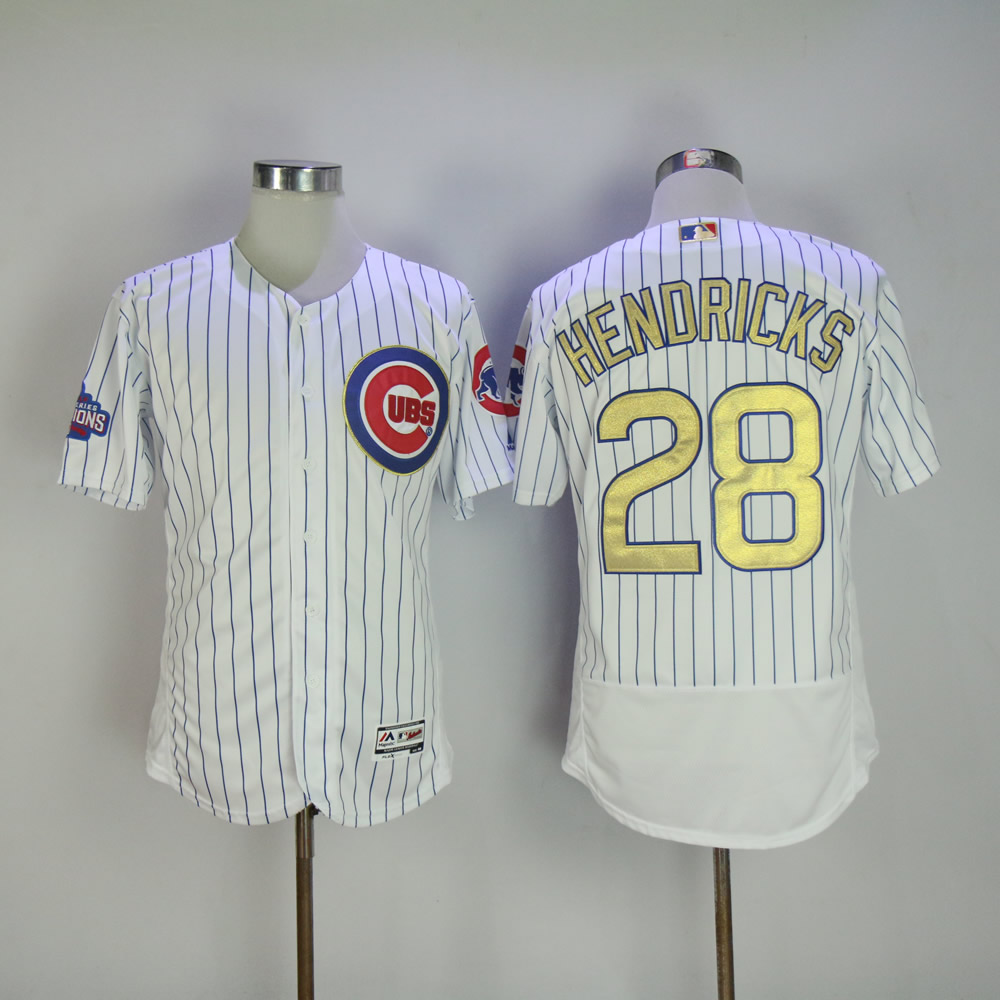 Men Chicago Cubs 28 Hendricks White Champion MLB Jerseys