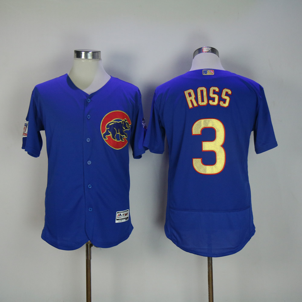 Men Chicago Cubs 3 Ross Blue Champion MLB Jerseys