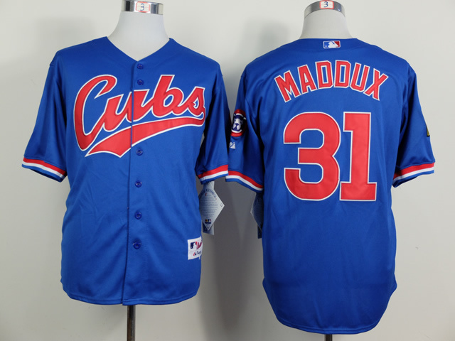 Men Chicago Cubs 31 Maddux Blue 1994 MLB Jerseys