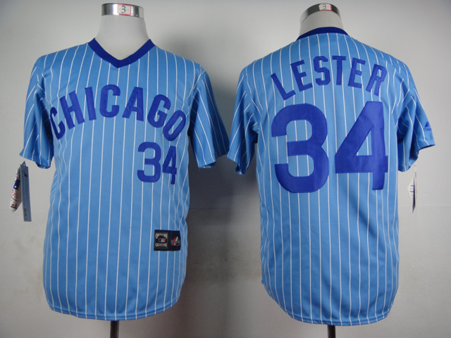 Men Chicago Cubs 34 Lester Blue Stripe Throwback MLB Jerseys