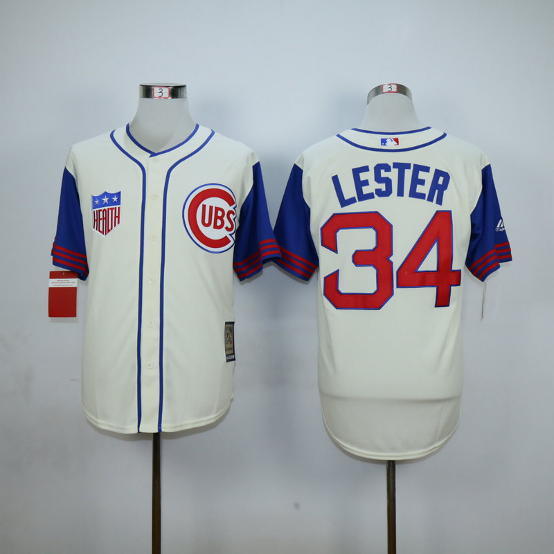 Men Chicago Cubs 34 Lester Cream Throwback 1942 MLB Jerseys