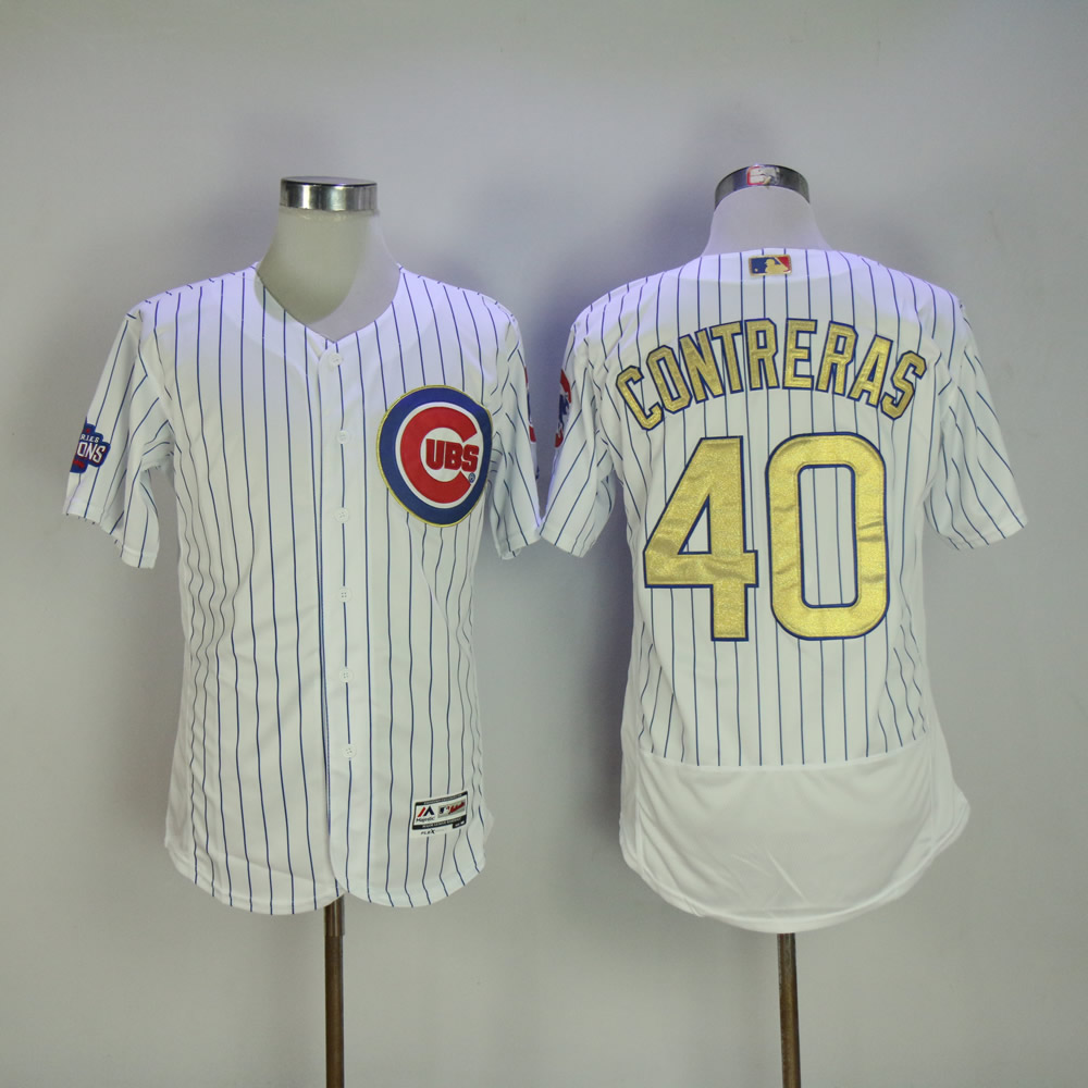 Men Chicago Cubs 40 Contreras White Champion MLB Jerseys