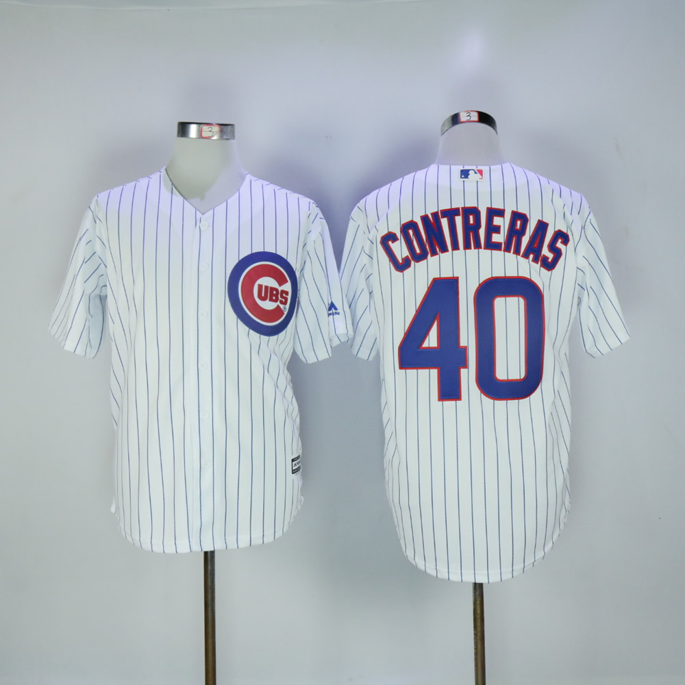 Men Chicago Cubs 40 Contreras White MLB Jerseys